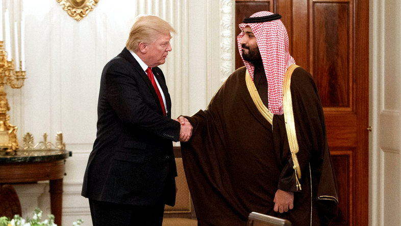 Crown Prince Mohammad bin Salman meets with President Donald Trump at the White House on March 20th 2018